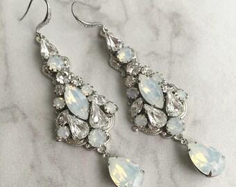 White opal wedding earrings - bridal earrings - statement earrings - crystal earrings