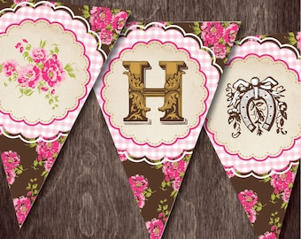 Vintage Cowgirl HAPPY BIRTHDAY BANNER  --  Printable Bunting Banner Downloadable digital file Pink and Gold