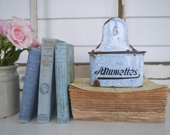 Vintage French Blue and White Enamel Allumettes Hanging Match Box with Lid