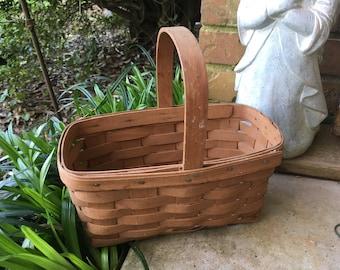 Vintage Longaberger basket, gathering basket, handmade basket