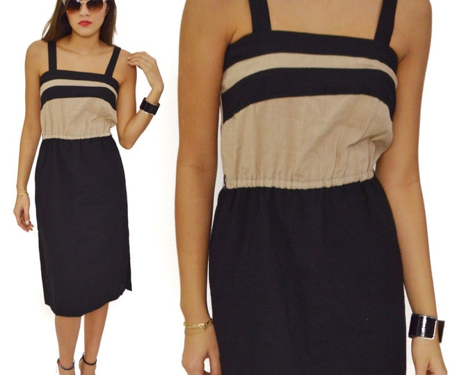 Vintage 80s Little Beige and Black Colorblock Sleeveless Dress