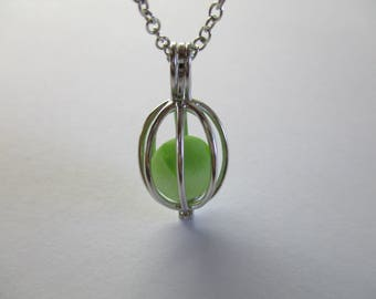 GENUINE SEA GLASS Necklace Sterling Silver Locket Flawless Green White Clear Beach Found Bead Surf Tumbled Seaglass Pendant Jewelry  N 792