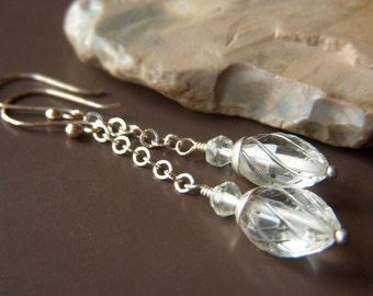 Green Amethyst Earrings, Prasiolite Earrings, Palest Green Earrings, Sterling Silver Gemstone Chain Earrings, Carved Gemstone Dangle