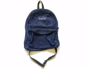 Vintage Mens Womens Unisex Jansport Mesh Backpack Navy Blue Book Bag Shoulder Bag Rucksack Hipster Student 90s y2k Style Workwear Fashion