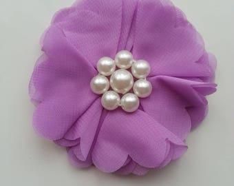 applique fleur et perles mauve  70mm