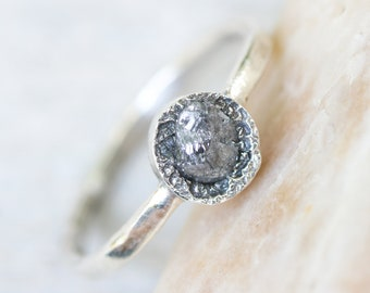 Dainty rough diamond ring in silver bezel setting with sterling silver hammer textured oxidized band