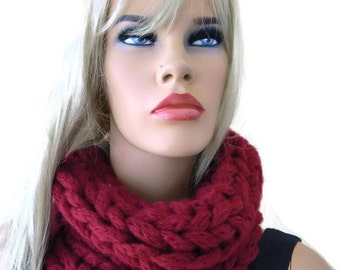 Bordeaux Burgundy winter infinity scarf,dark red hand knitted cowl,  best friend gift-Chunky winter cowl