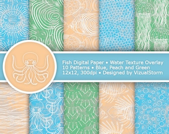 Fish Digital Paper Sea Life Patterns Printable Ocean Backgrounds Octopus Jellyfish Line Art Beach Paper Pack Digital Fish Scrapbooking Paper