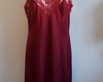 Vintage French Maid Full Slip Chemise ~ 1980's Red Burgundy Wine Silky Nylon Slip ~ Lacy Slip ~ Vintage Red Slip ~ Red Slip ~ Vintage Slip