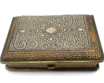 1920's Mondaine Leather Powder Rouge Compact Faux Snake Skin