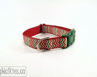 """Zig Zag Christmas Dog Collar / 1"""" (25mm) Wide / Red and Green Chevrons / Choice of style and size / Martingale Dog Collars or Quick Release"""