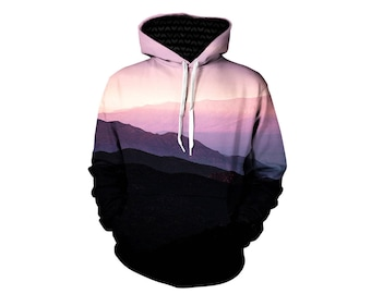 Mountain Hoodie - Beautiful Forest Hoodies - Printed Nature Artwork Pullover Hoody - EDM Rave Wear