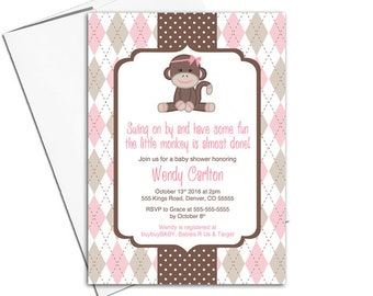 sock monkey baby shower invitation for girls baby shower invites, argyle and polkadots, pink and brown - PRINTED - WLP00759