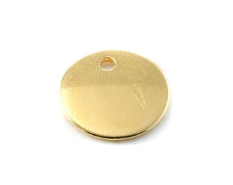 5, 10, 20 or 50 round / disc gold tone 8 mm, 12 mm, 15 mm