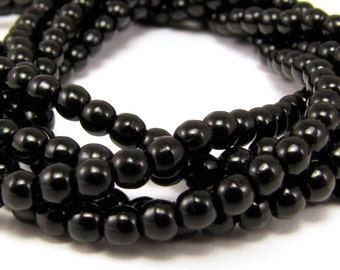 Jet Black 3mm Smooth Round Czech Glass  Beads 100pc #911