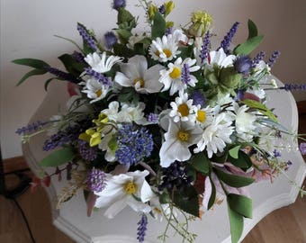 Gorgeous Meadow Flowers in Pretty Footed Bowl