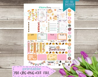 Printable planner stickers for Erin Condren Lifeplanner 2018 / Cut File Included for use with Silhouette products 1.1 Thanksgiving Theme