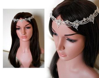 forehead headband, lace circlet, ivory headband, bohemian headpiece, bridal forehead band, bohemian bridal headpiece, angelic halo, halo