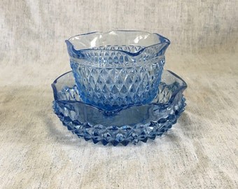 Vintage Ice Blue Diamond Point Mayonnaise Bowl and Underplate, Indiana Glass