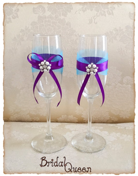 Turquoise and Purple Wedding Champagne Flutes Bride and Groom