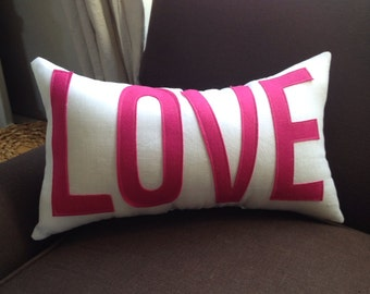 LOVE pillow in white linen and hot pink felt
