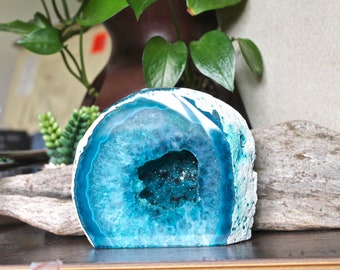 1.75lb. Teal Geode Cave, Paperweight, DYED Agate Crystalized Stone, Bohemian Desk Decor, Rock, Stone & Crystal Shop