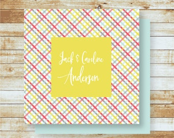 Personalized Calling Cards / Gift Tags / Gender Neutral Plaid