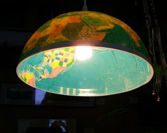 Vintage Globe pendant light, Northern Hemisphere, 1970's