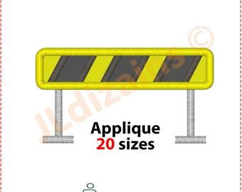 Bau Barriere Appliqueentwurf. Maschinenstickerei Design -Sofort DOWNLOAD - 20 Größen. Bau Barrikaden Stickmuster