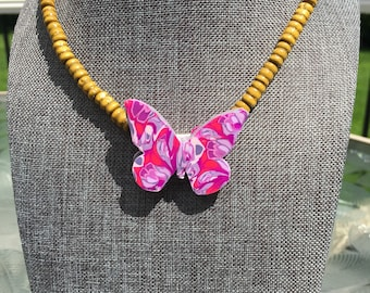 Tropical Butterfly Pendant Necklace