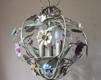 Antique Vintage French painted tole ware cage chandelier