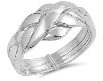 Men Women Sterling Silver 4 pcs Band Puzzle Ring 11mm / Free Gift Box(SNRP141038)