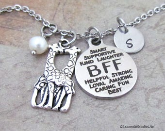 BFF Two Giraffes Personalized Hand Stamped Initial Birthstone Antique Silver Best Friends Giraffe Necklace