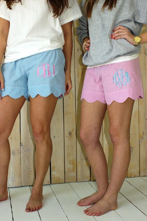 Women's Scallop Seersucker Lounge Shorts in Pink!
