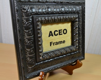 ACEO Picture Frame - Small Size Photo Frame - Ornate Black Cherry Wooden Frame