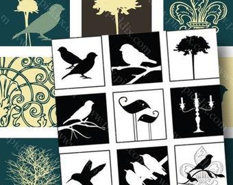 Modern Birds and Swirls digital collage sheet in 7/8 inch squares -- piddix 765