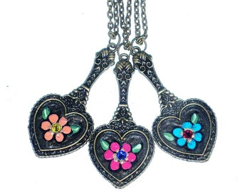 Painted Heart Necklace Colorful Flower Hippie Boho Jewelry FREE SHIPPING