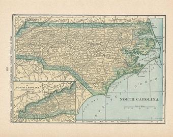 1923 North Carolina & North Dakota Antique Map