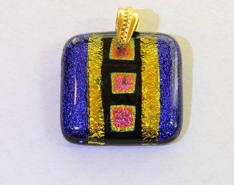 Dichroic Fused Glass Pendant - Medium