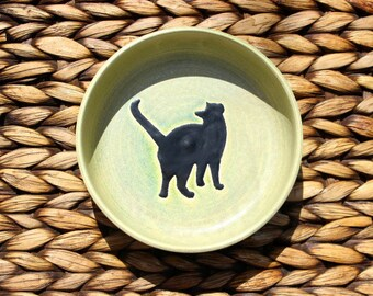 Ceramic CAT Bowl - Cat Food Water Bowl - Handmade Green Stoneware Bowl with Black Cat Silhouette - Ready To Ship