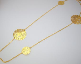 Floral print long Metal Gold