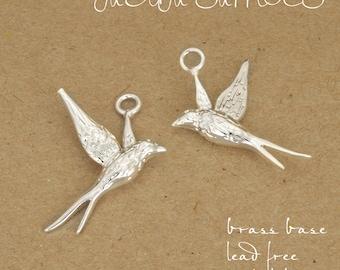 40pcs Silver plating hummingbird Charm pendant