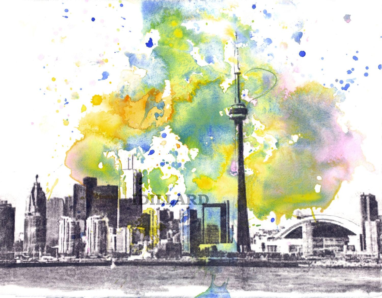 Toronto Skyline Landscape Art Print From Original Watercolor