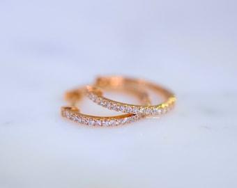 14K Rose Gold Diamond Huggie Hoop Earrings