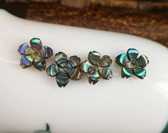 10 Pieces 8mm Abalone Shell Flower beads Carved Paua Shell Flower Beads