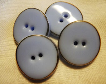 Vintage Opaque Baby Blue Glass Buttons with gold rim set of 4 at 11/16th inch