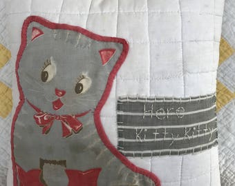 Vintage Kitty Potholder Pillow