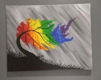 Rainbow tree hand painted in acrylic on canvas