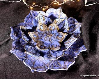 Three-piece deep blue nesting handbuilt stoneware swirled starfish trinket dishes!