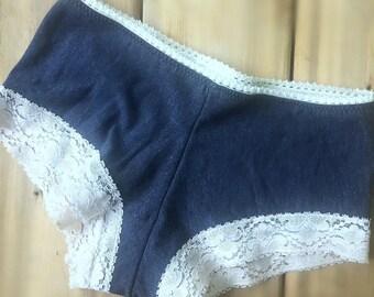 Organic cotton boyshort panties - handmade organic underwear